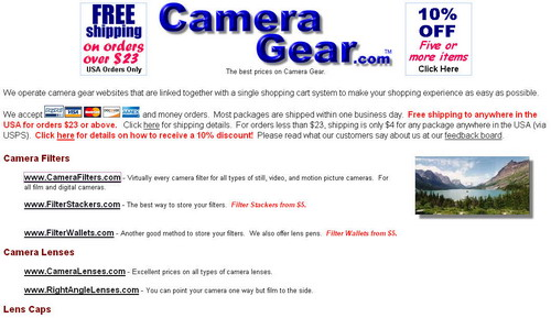 CameraGear.com Website