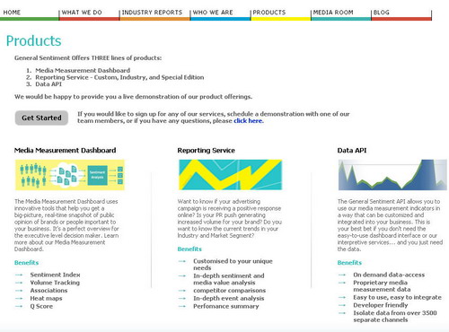 Screenshot of General Sentiment Products Page